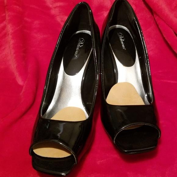 7f28f4f1a96 Black Patent peep toe wedge. 9
